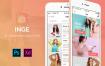 干净清新设计风格的电子商务应用app界面模板ui设计素材,提供psd格式的源文件下载