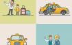 14款卡通扁平化室内生活商务开会工作医院场景人物ui设计引导页矢量素材下载