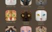 25组矩形动物图标矢量素材