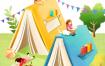 16款卡通手绘书籍阅读2.5D郊游玩耍场景插图插画背景PSD设计素材