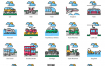 80个交通线性图标优质设计素材下载