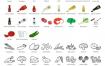134个美丽的洋葱螃蟹三文鱼等蔬菜海鲜食物线条图标优质设计素材下载