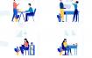 10多个场景的办公商务插画优质设计素材下载