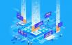 10款蓝色营销自动化seoWeb内容等距页面数据符号图免费矢量素材