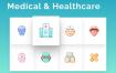 64个卡通医疗保健图标素材