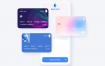 200个毛玻璃质感金融科技电子钱包和新银行卡素材提供figma格式ui设计素材源文件下载