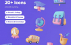 20个现代教育3D图标素材下载
