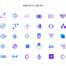 350个潮流时尚几何图形元素扁平化彩色渐变图标icon矢量素材下载
