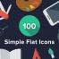 100个扁平化风格多彩矢量图标素材下载