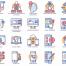 88个扁平化风格智能科技圆形图标素材下载