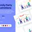 9个场景家庭聚会插图优质设计素材下载